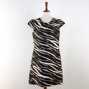Kate Spade Brown White  Print Cap Sleeve Dress